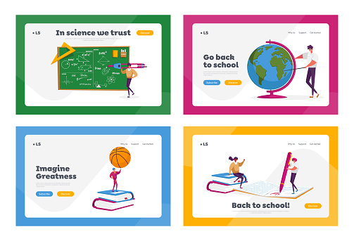 Tiny Teacher Characters with Educational Tools Landing Page Template Set. Tutors with Stationery at Blackboard, Ball, Globe and Books for Disciplines, Check Test. Cartoon People Vector Illustration