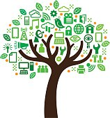 A small graphic tree with the foliage made from icons relating to technology and computing.