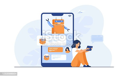 istock Tiny woman using mobile assistant with chatbot 1253588934