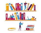 Tiny Women and Men Characters Reading in Library Sitting on Huge Shelves with Books. People Students Spend Time in Athenaeum Prepare for Examination in Literature Storage. Cartoon Vector Illustration