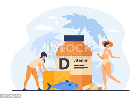 istock Tiny women eating fatty fish, vitamin D, cheese and sunbathing 1277504093