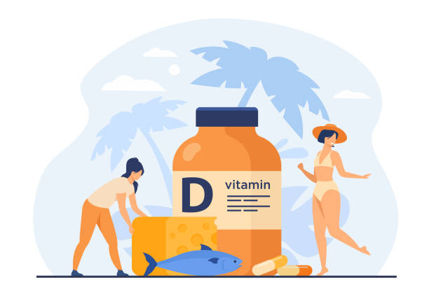 tiny women eating fatty fish, vitamin d, cheese and sunbathing - vitamin d stock illustrations