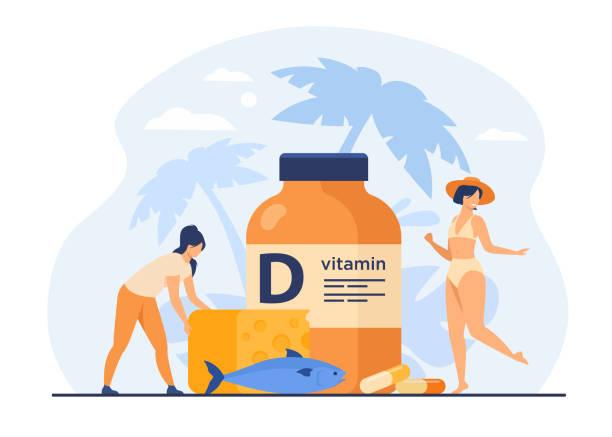 yağlı balık, d vitamini, peynir ve güneşlenme yiyen minik kadınlar - vitamin d stock illustrations