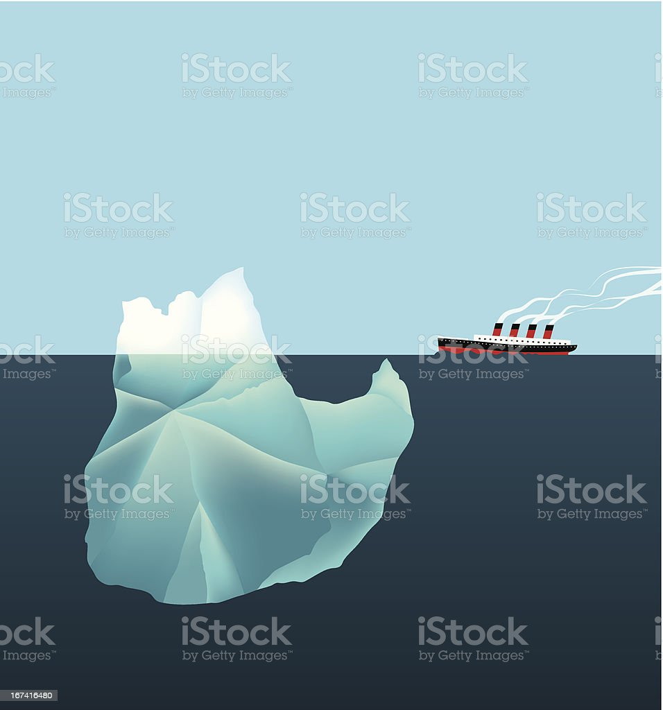 Tip of the iceberg vector art illustration