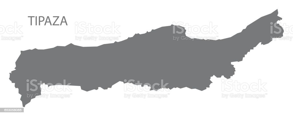 Carte Algerie Tipaza.Silhouette De Gris Illustration Tipaza Algerie Carte Cliparts