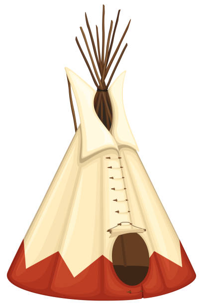 Tipi Vector illustration of a Native American tipi. Illustration uses no gradients, meshes or blends, only solid color. Includes AI10-compatible .eps format, along with a high-res .jpg. teepee stock illustrations