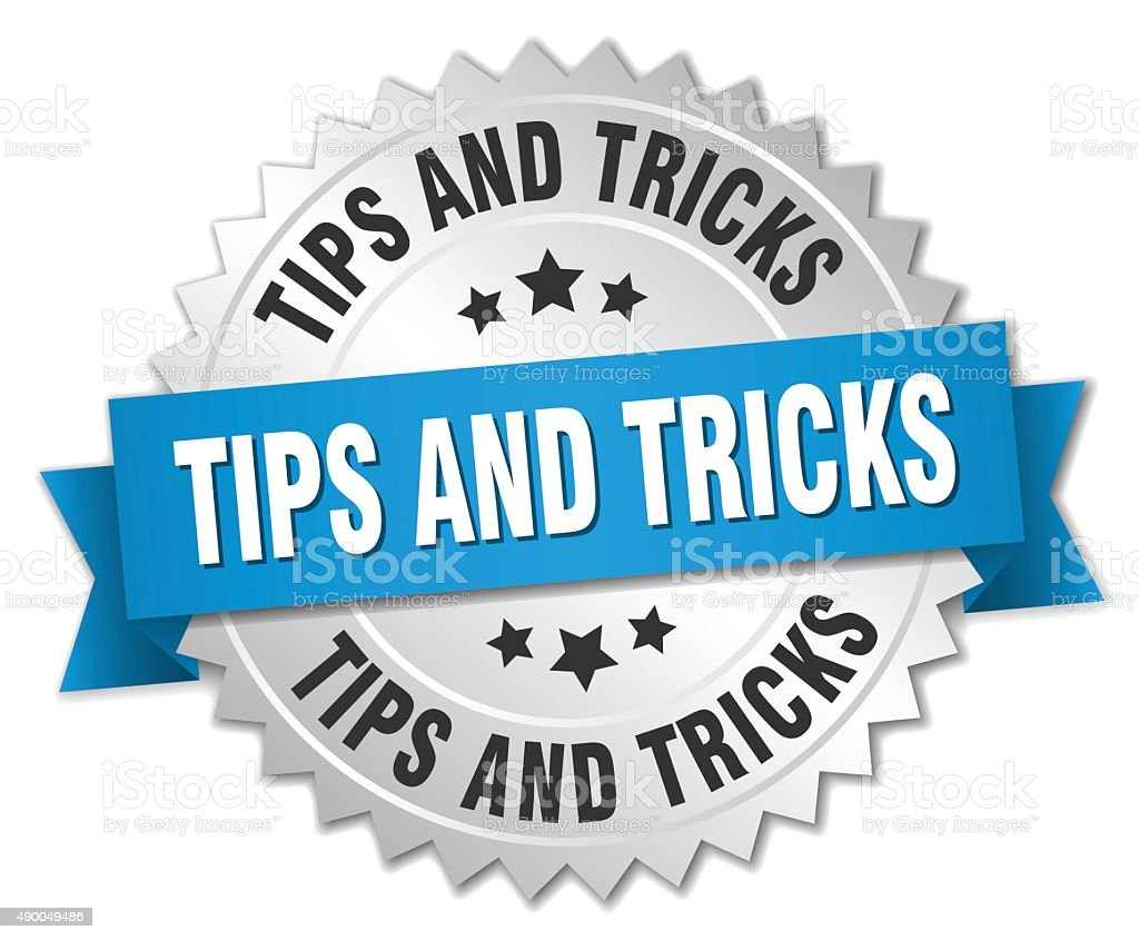 tips and tricks 3d silver badge with blue ribbon vector art illustration