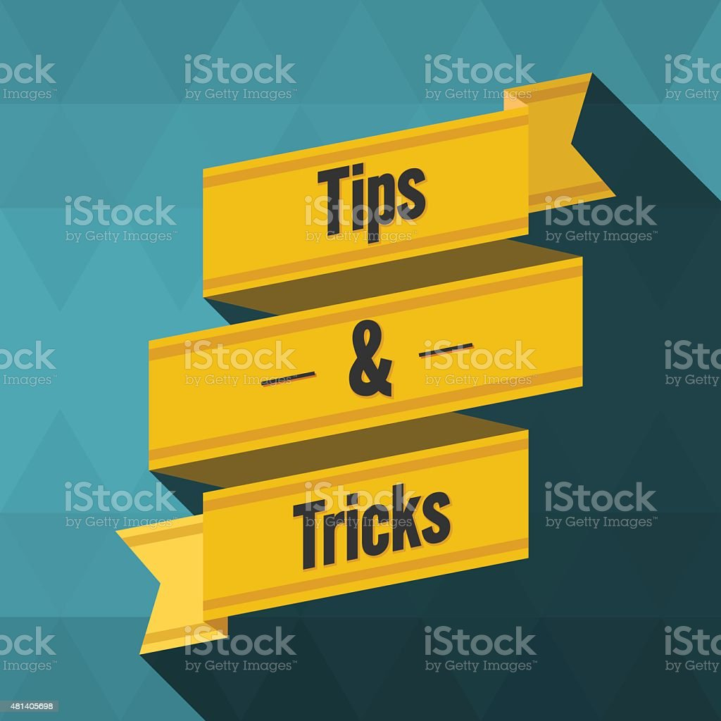 Tips and tricks ribbon design vector art illustration