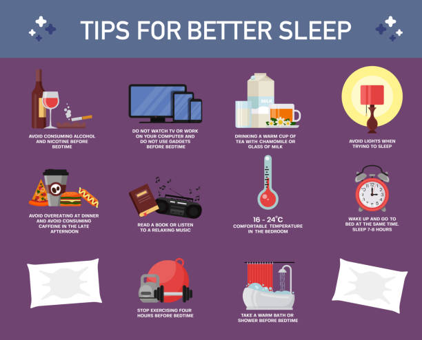 Tips for better sleep, vector flat style design illustration Tips or rules for better sleep, vector flat style design illustration. Useful advices how to get healthy sleep. Sleeping habits infographic. addict stock illustrations