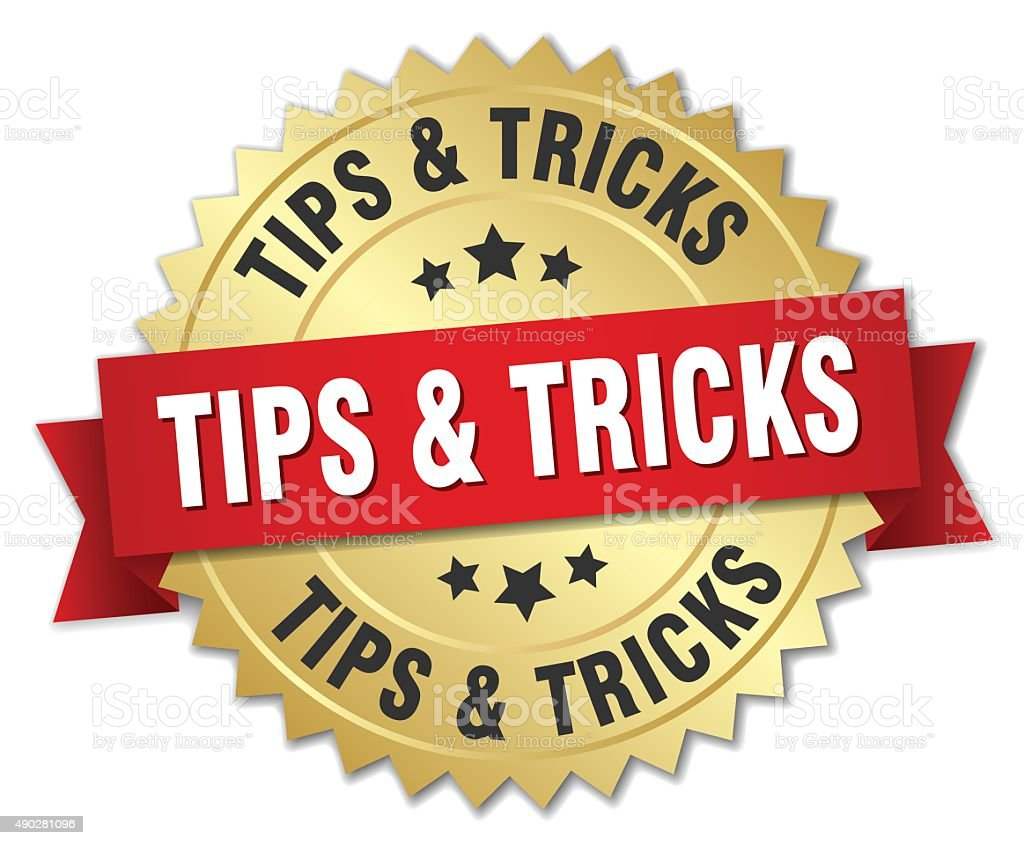 tips & tricks 3d gold badge with red ribbon vector art illustration
