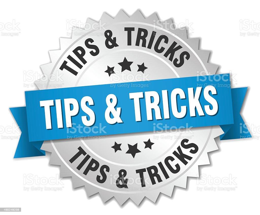 tips & tricks 3d silver badge with blue ribbon vector art illustration
