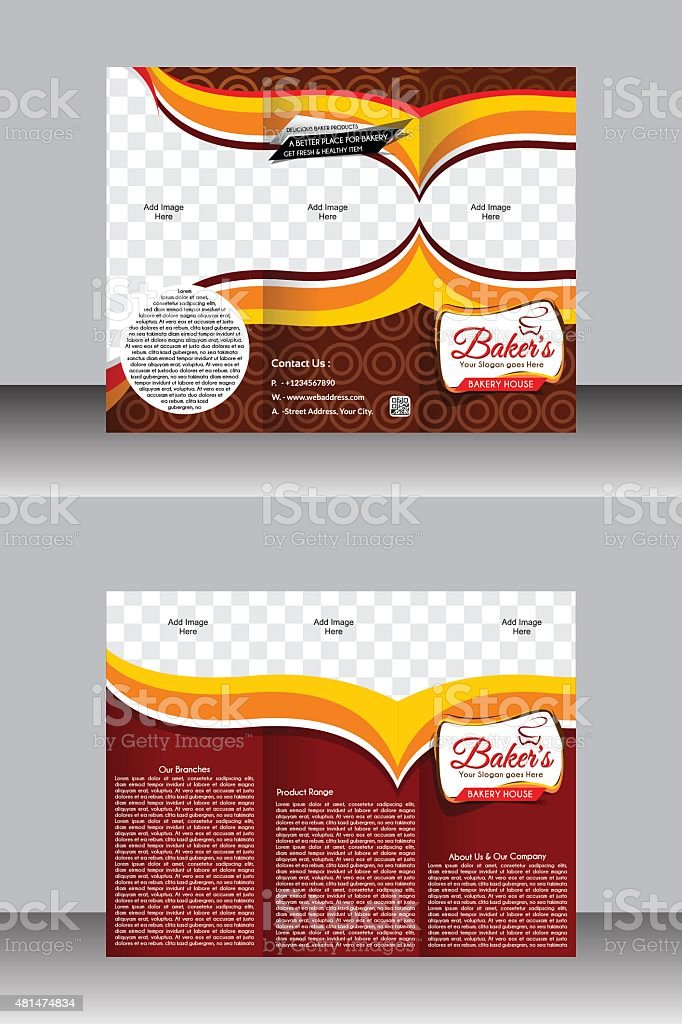 Tir Fold Bakery Brochure Template Design Stock Vector Art More - Bakery brochure template