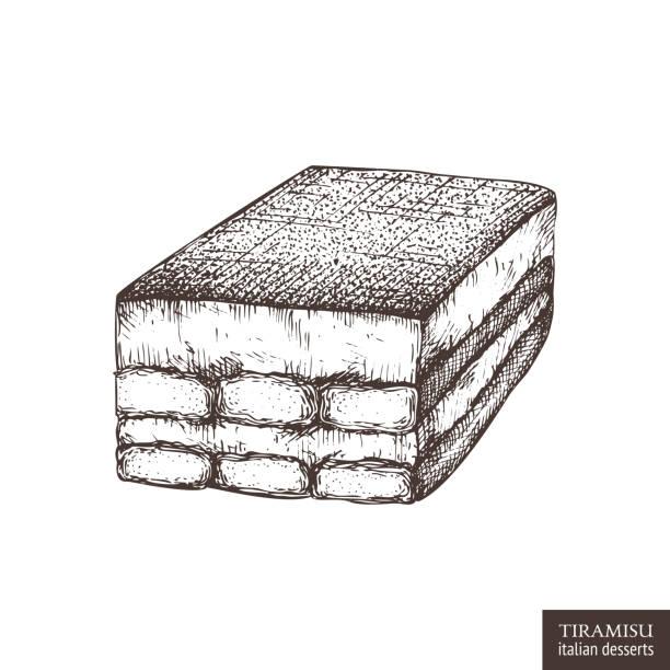 tiramisu-kuchen-skizze - tiramisu stock-grafiken, -clipart, -cartoons und -symbole