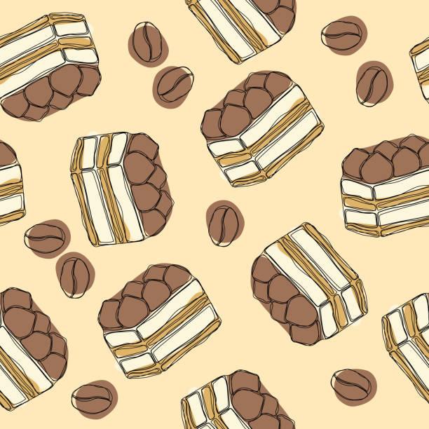 tiramisu - klassische dessert mit mascarpone und kaffee. hand zeichnen sie nahtlose muster mit tiramisu. - tiramisu stock-grafiken, -clipart, -cartoons und -symbole