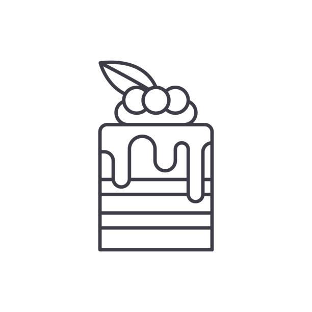 tiramisu-line-symbol-konzept. tiramisu mit linearen vektorgrafik, symbol, zeichen - tiramisu stock-grafiken, -clipart, -cartoons und -symbole