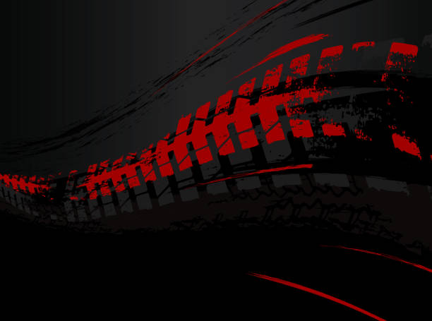 Tire Background Image Vector automotive banner template. Grunge tire tracks background for landscape poster, digital banner, flyer, booklet, brochure and web design. Editable graphic image in black and red colors tire vehicle part stock illustrations
