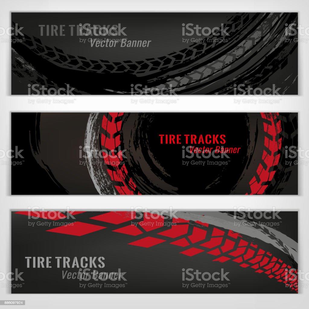 Tire Banners Set vector art illustration