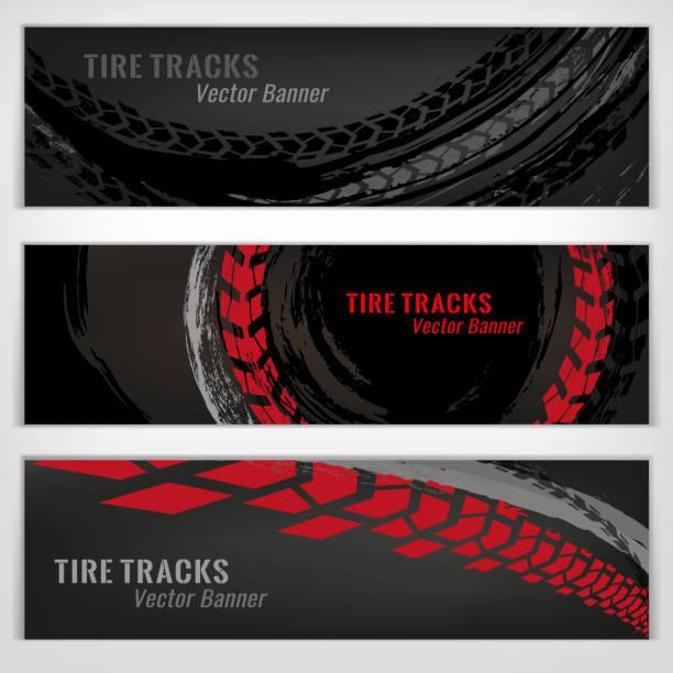 illustrazioni stock, clip art, cartoni animati e icone di tendenza di tire banners set - transport truck tyres