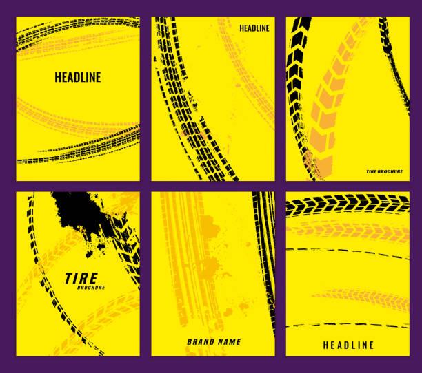 Tire Brochure Set 011 Vector automotive brochure templates set. Grunge tire tracks backgrounds for portrait poster, digital banner, flyer, booklet, leaflet, web design. Editable graphic image in modern edgy vanguard style snowdrift stock illustrations
