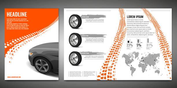 illustrazioni stock, clip art, cartoni animati e icone di tendenza di tire brochure template - transport truck tyres