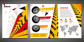 Vector automotive brochure template. Grunge tire tracks backgrounds for portrait poster, digital banner, flyer, booklet, leaflet, web design. Editable graphic image in black, red, yellow colors