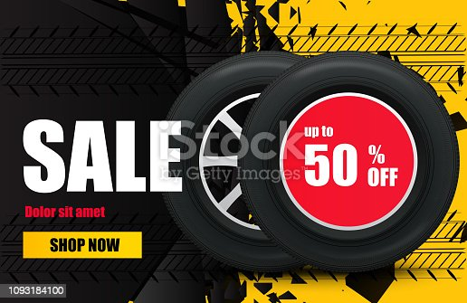 Tire car sale banner. Car wheels and tires sale poster. Vector illustration