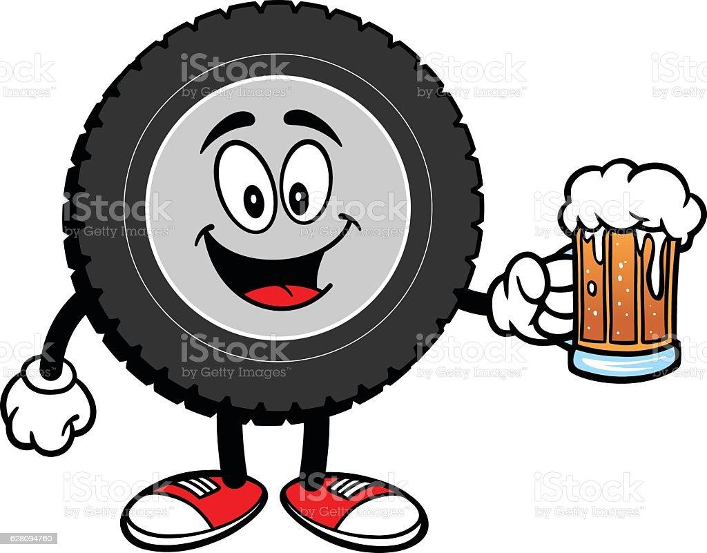 Tire Cartoon with Beer vector art illustration