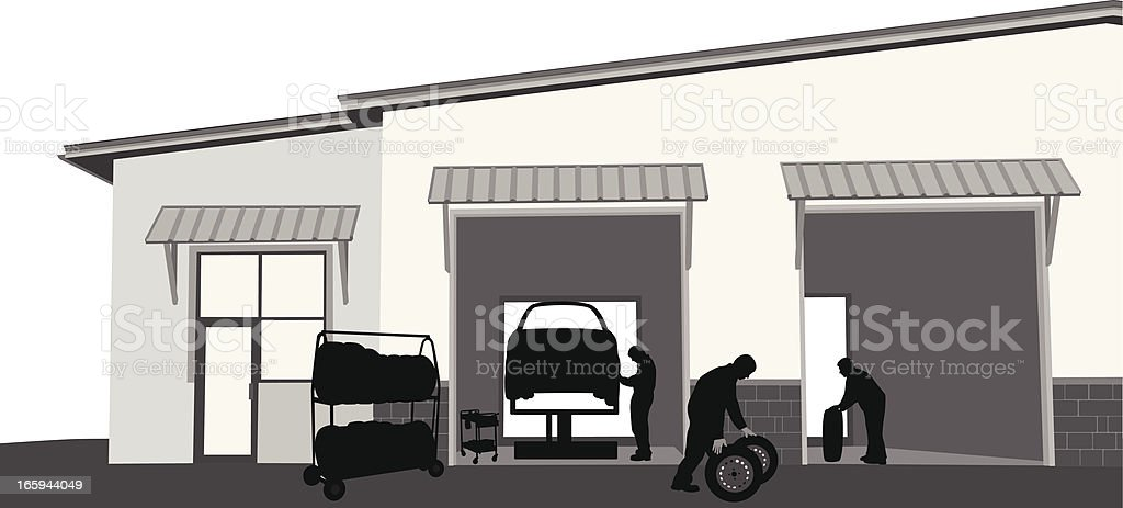 Tire Change Vector Silhouette vector art illustration