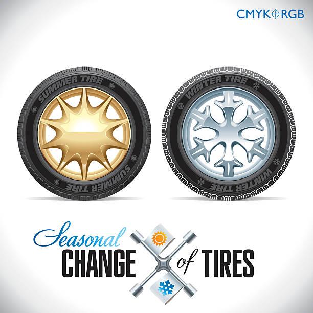 tire change winter and summer wheels for the car - 橡膠 幅插畫檔、美工圖案、卡通及圖標