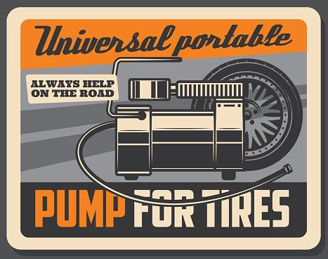 Tire fitting car service retro poster