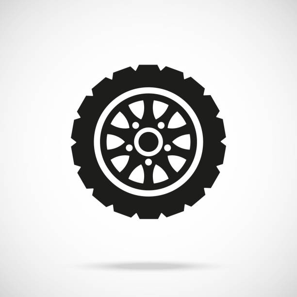 Tire icon. Car wheel. Vector icon Tire icon. Car wheel. Vector icon isolated on gradient background tire vehicle part stock illustrations