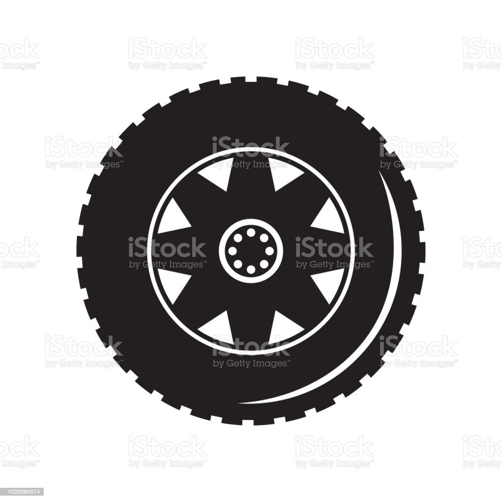 tire icon vector sign and symbol isolated on white background tire