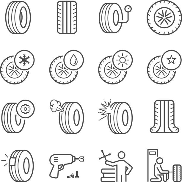 illustrations, cliparts, dessins animés et icônes de pneu icônes set - inflation