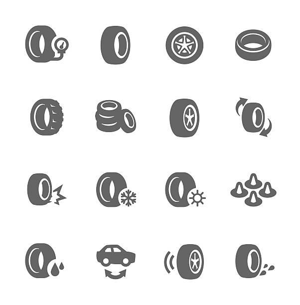 ilustraciones, imágenes clip art, dibujos animados e iconos de stock de tire iconos de - tires
