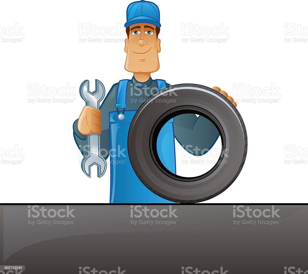 Tire Mechanic vector art illustration