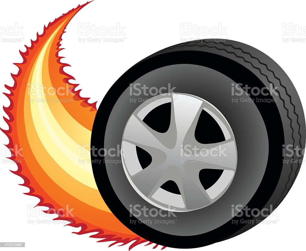Tire On Fire stock vector art 472312987 | iStock for Racing Tire Vector  110zmd