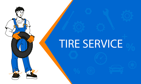 Tire service and Car repair banner with cartoon vector illustration.