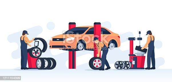 istock Tire service concept. 1211154399