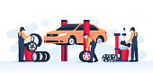 Tire service concept. Car mechanic check the condition of the wheels and repair them. Garage with the car on the lift. Vector illustration in flat / cartoon style.