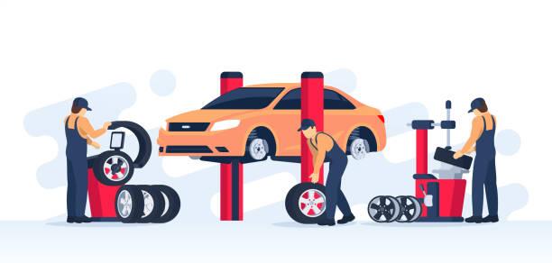 ilustrações, clipart, desenhos animados e ícones de conceito de serviço de pneus. - garage