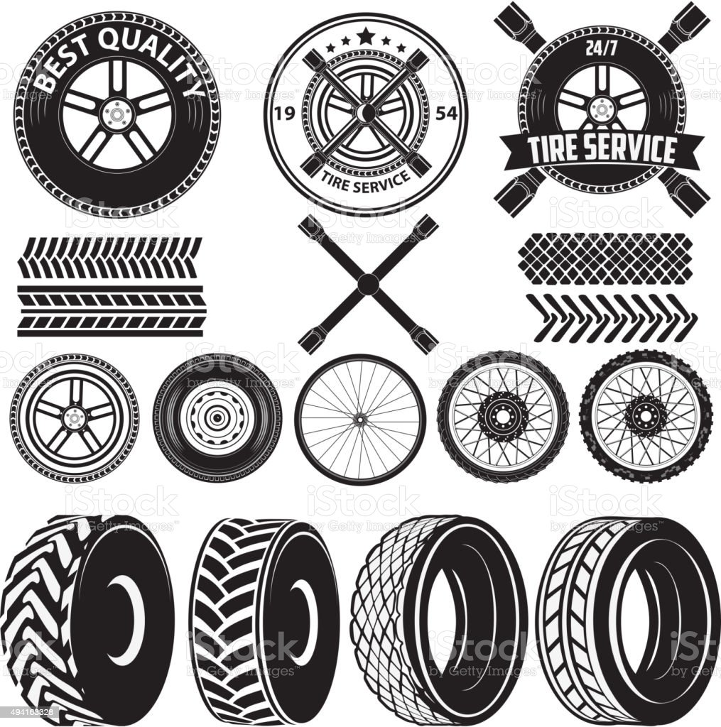 tire service label vector art illustration