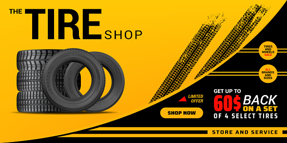 Tire shop, auto service and car wheel tyre store
