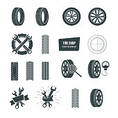 Automobile rubber tire shop icontype. Black tire icons icon set. Car wheels, wrenches, service and maintenance icons, tire repair, swapping, wheel replacement, car diagnostics. Vector illustration