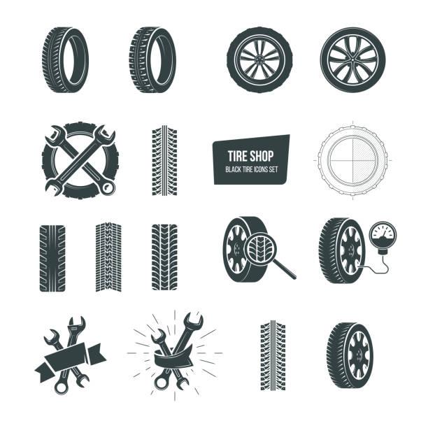 stockillustraties, clipart, cartoons en iconen met tire winkelconcept. zwarte band pictogrammen instellen. service, diagnostiek, vervanging - uitgeput