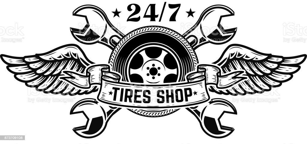 Tire Shop Emblem Template Car Wheel With Wings Stock Vector Art