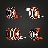 Car tire icons set in dark grey, white and orange colours useful for icon and icon,