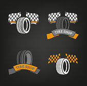 Car tire icons set in dark grey, white and orange colours useful for icon and icontype design on a dark background. Beautiful vector illustration in a modern graphic style. Transportation automotive concept. Digital pictogram collection.