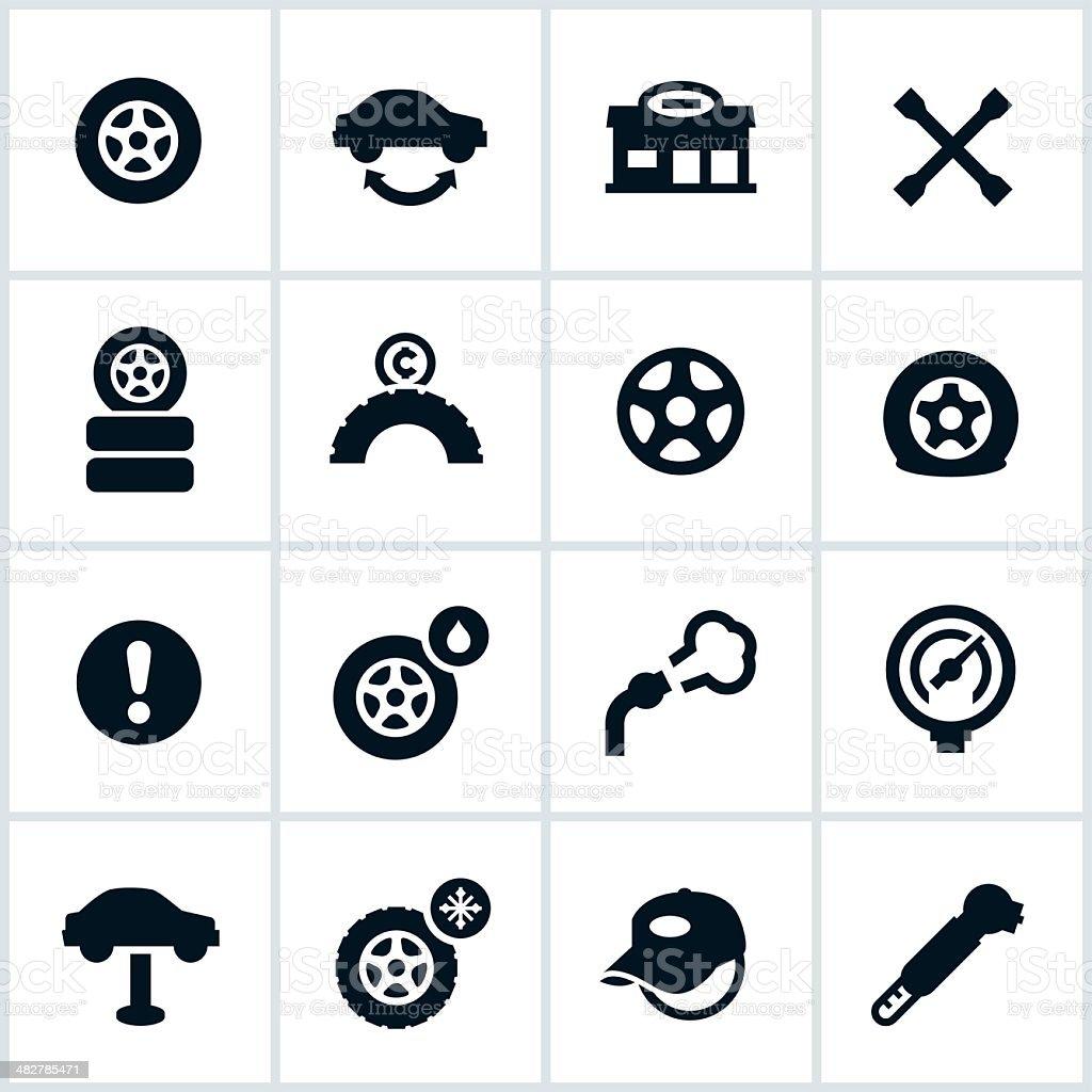 Tire Shop Icons vector art illustration