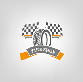 Car tire icon with finish flags in grey and orange colours useful for icon and logotype design on a light background. Realistic graphic style. Transportation automotive concept. Digital pictogram collection. Beautiful vector illustration