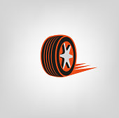Car tire icon in dark grey and orange colours useful for icon and logotype design on a light background. Realistic graphic style. Transportation automotive concept. Digital pictogram collection. Beautiful vector illustration
